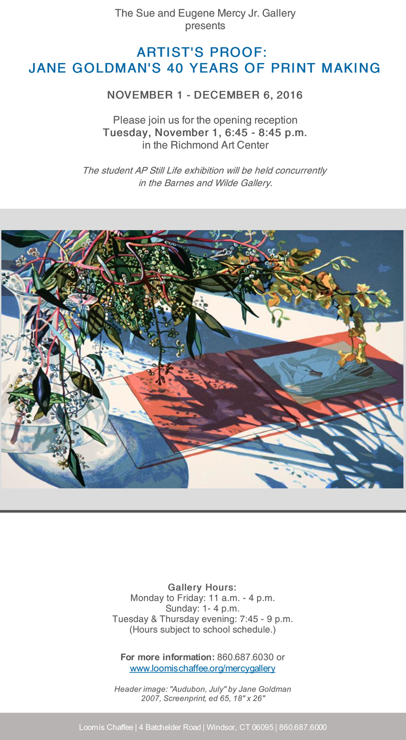 Jane Goldman – Upcoming Exhibitions